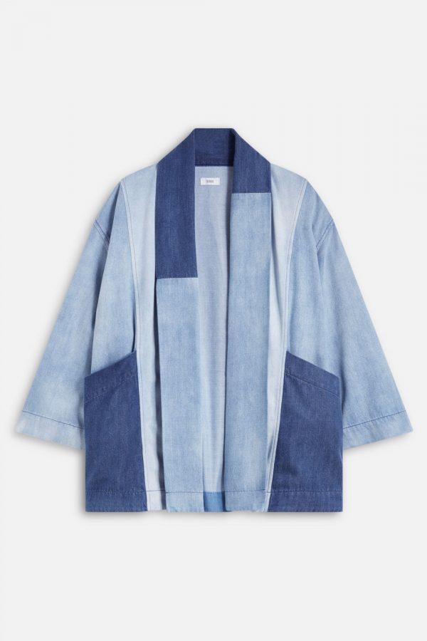 Patchwork denim kimono SS21