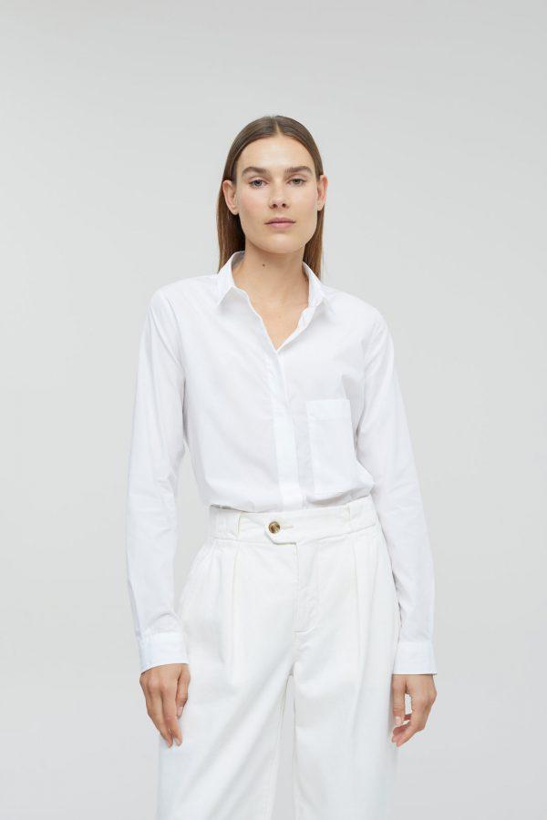 Organic poplin white shirt