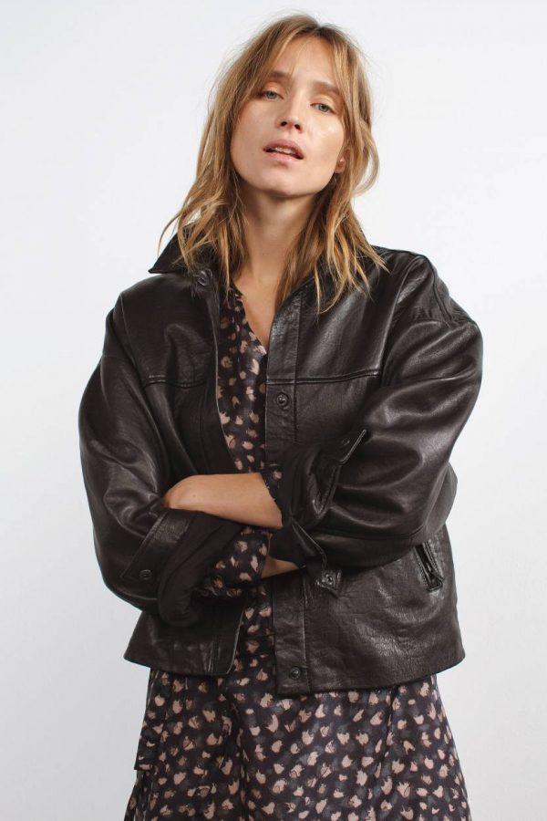 Neda black leather jacket